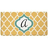yellow checkbook cover - Snaptotes Moroccan Personalized Monogram Checkbook Cover (One Size, Yellow White Blue AA)