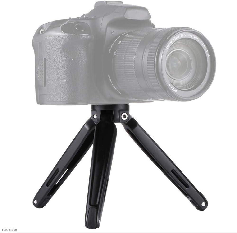 Sunsamy Portable Tripod Mini Metal Desktop Tabletop Tripod Mount with Adapter Screw for DSLR Camera 4.5-15cm Color : Black, Size : One Size