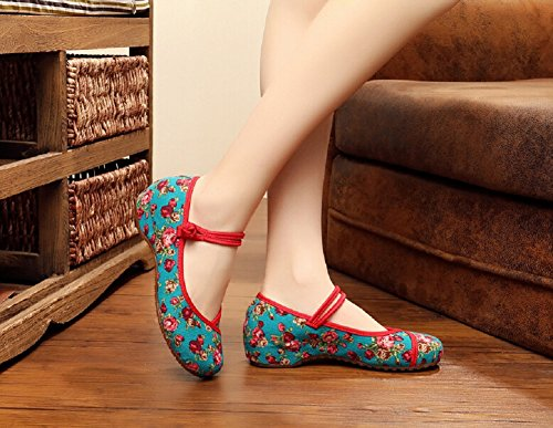 Femmes Style Qipao Chaussures Brodées Chinois Vert Chaussures Mary Vintage Habillées Jane Lazutom qTZFnAtt