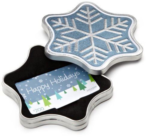 - Amazon.com $200 Gift Card in a Snowflake Tin (Happy Holidays Card Design)