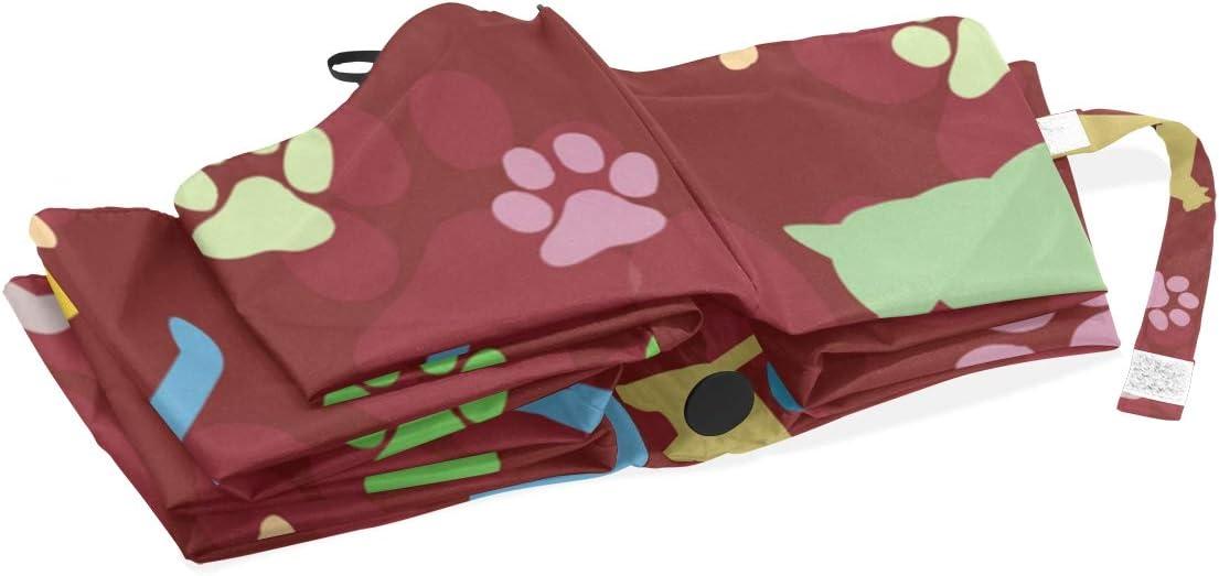 FVFV Cat Brown Stamp Automatic Foldable Umbrella UV Protection Auto Open Close Folding Windproof Sun Blocking for Travel Beach Women Kids