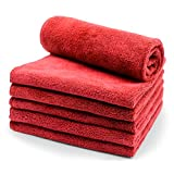 SURPRISE PIE Microfiber Cleaning Cloth Duster rags Professional Grade Premium Towels for Car Wash Drying supplies Red 400GSM Best Towels for Dusting, Scrubbing, Polishing, Absorbing -12'' x 12'' 6 Pack