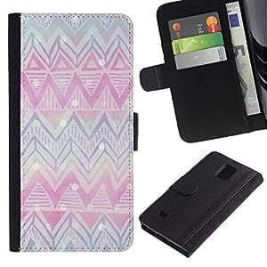 KLONGSHOP / Tirón de la caja Cartera de cuero con ranuras para tarjetas - Christmas Pink Blue - Samsung Galaxy Note 4 SM-N910