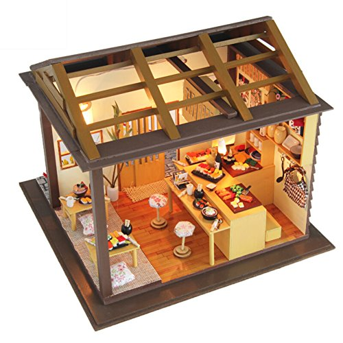Oshide Dollhouse Miniature DIY House Kit with Furniture for Kids Girls Adults Birthday Gift, without Dust Cover (Sushi Restaurant)