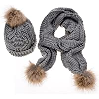 ihreesy Winter Stretchy Warm Thick Knit Infinity Loop Scarf and Pom Pom Beanie Hat Set for Women Girls - Gray