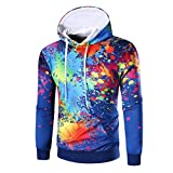 Pullover Hoodies Unisex 3D Printed Lighweight Drawstring Pockets Hoody Sweatshirts Men Women (Blue, L)