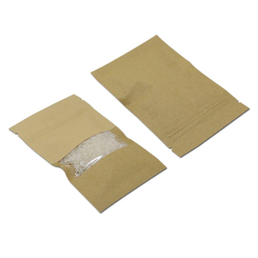 クラフト紙 食品長期 透明窓袋 保存用バッグ ジップロック 大容量 再封可能 裂け目 コーヒー 茶 食品用 包装袋 気密 18 x 26 cm (200) B07M8PWLCG  200