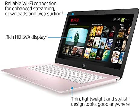 "2020 HP Stream 14"" HD SVA Laptop Computer, Intel Celeron N4000 Processor, 4GB RAM, 64GB eMMC Flash Memory, Intel UHD Graphics 600, 1-Year Office, Bluetooth, Win 10S, Rose Pink, 32GB SnowBell USB Card"