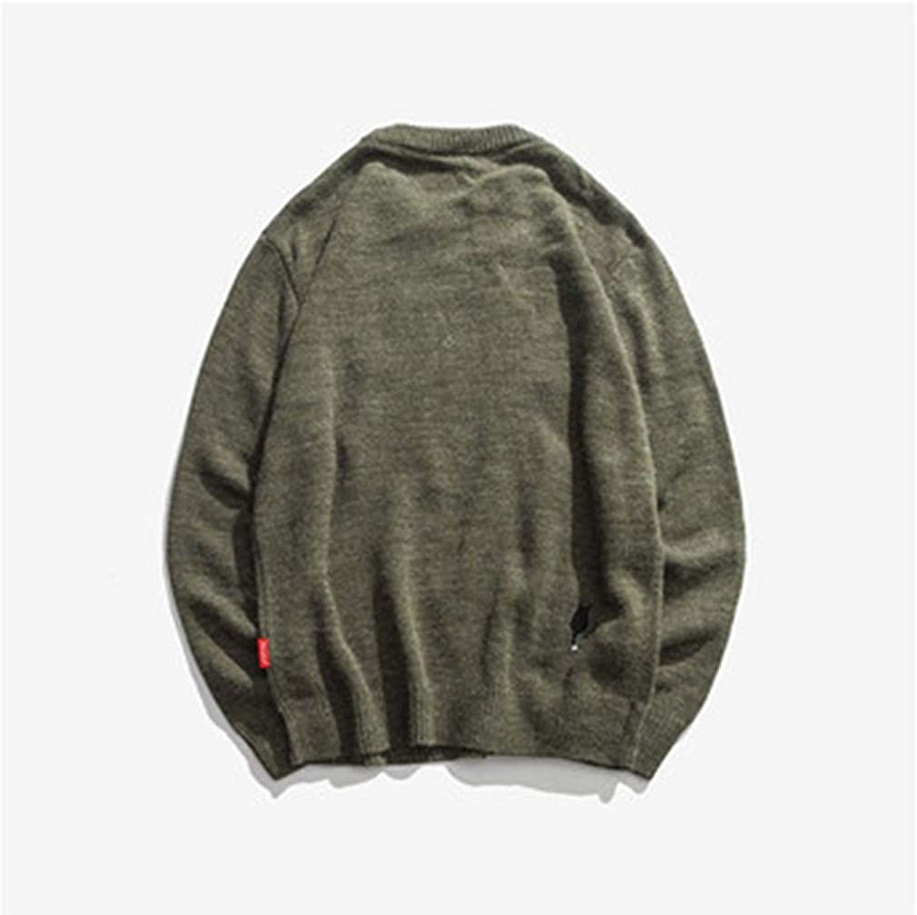 Usopu Mens Cat Monochrome Crew Neck Long Sleeve Sweater