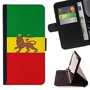 BullDog Case - FOR/Samsung Galaxy Core Prime / - / RASTA MAJESTIC FLAG /- Monedero de cuero de la PU Llevar cubierta de la caja con el ID Credit Card Slots Flip funda de cuer