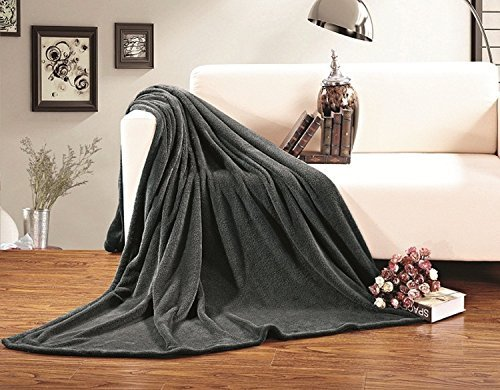 Elegant Comfort Micro-Fleece Ultra Plush LUXURY Solid Blanket, King, Gray