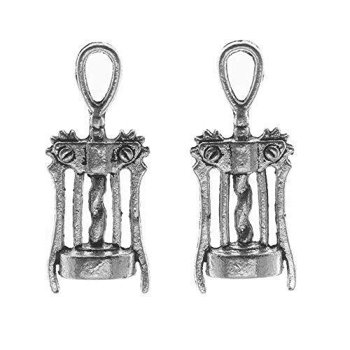 2 Pieces Beadaholique Lead-Free Pewter Charms Wine Bottle Openers 27mm Antiqued Silver