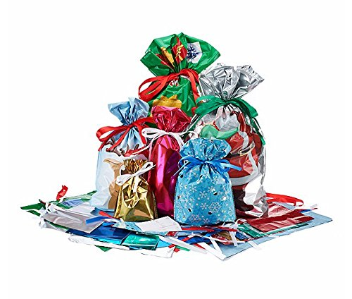 Giftmate 60 Piece 1-2-3 Gift Bag & Tag Set - Easy Gift Wrapping for the Holidays! by GiftMate Drawstring Gift Bags