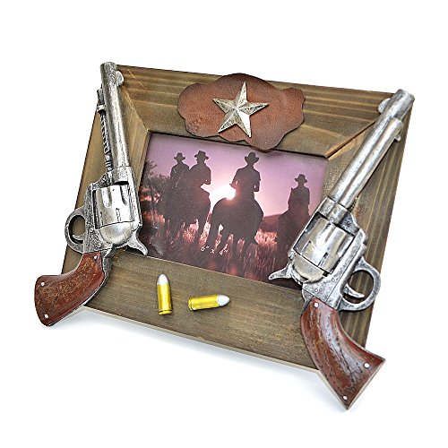 White Deer 4x6 Western Cowboy Picture Photo Frame with Revolver Bullet Lone Star