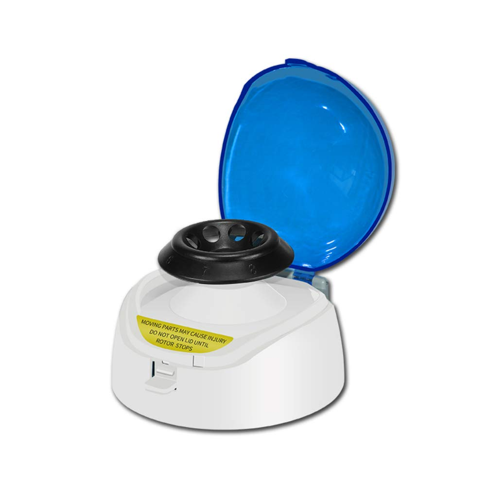HuXi Mini Digital Benchtop Microcentrifuge Centrifuge Micro Centrifuge 8 X 1.5/2.0 ML Capacity, with Adaptor for 0.5, 0.2 ML, 6000rpm / 2000xG Speed Blood Centrifuge Machine