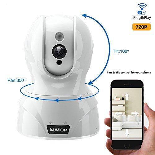 MATOP HD Wireless IP Camera,Pan & Tilt Control, Wi-Fi/Ethernet, Two-Way Audio, Night vision Surveillance Security Camera Free App(720p, White)