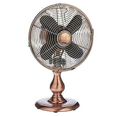 Oscillating Table Fan - 10 Inch Retro Style Desk Fan (Copper)