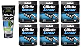 Gillette Body Non Foaming Shave Gel for Men, 5.9 Fl Oz + Sensor Refill Blades 10 Ct. (6 Pack) + FREE Luxury Luffa Loofah Bath Sponge On A Rope, Color May Vary