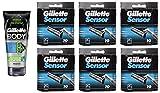 Gillette Body Non Foaming Shave Gel for Men, 5.9 Fl Oz + Sensor Refill Blades 10 Ct. (6 Pack) + FREE Assorted Purse Kit/Cosmetic Bag Bonus Gift