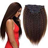 Clip in kinky straight human hair clip ins for african american Yaki straight Clip in Human Virgin Hair Extensions 10'-24' 7 Pcs (80g 10'', Brown)