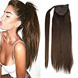 "LaaVoo 14"" Silky Straight Pony Tail Real Human Hair Extensions Solid Color #4"