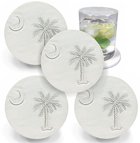 (Drink Coasters by McCarter Coasters, South Carolina Palmetto & Moon, Light Beige 4.25 inch (4pc))