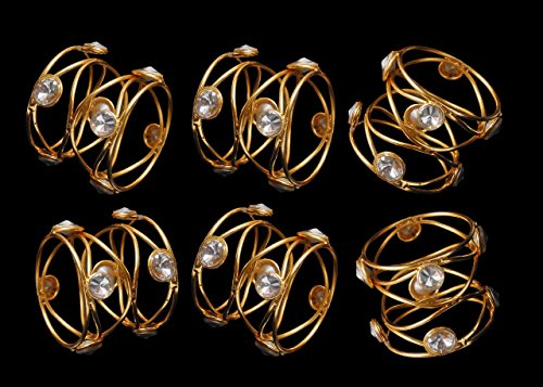 - James Scott Handmade Indian Gold And Stud Napkin Rings - Set of 6 Rings for Dinning Table Parties Every day