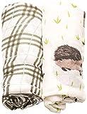 Little Unicorn Deluxe Muslin Swaddle Blankets (set Of 2) - Hedgehog Set, Brown