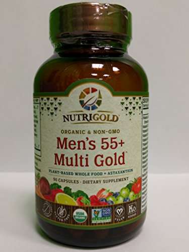 NUTRIGOLD Men s 55 MULTIVITAMIN 90cap Organic, nonGMO, wholefood Vitamins and Minerals from Real Fruits, Vegetables, and Herbs. Now Includes Astaxanthin 30 Servings