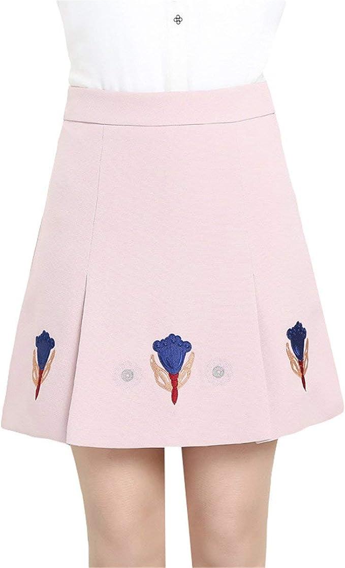 Falda Señoras Faldas Cortas Una Línea Mini Falda Bordada Mode De ...