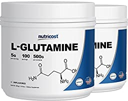 Nutricost L-Glutamine Powder [500G] 2 Pack - Pure L Glutamine - 5000mg Per Serving - 1.1 Pounds & 100 Servings Each - Highest Purity
