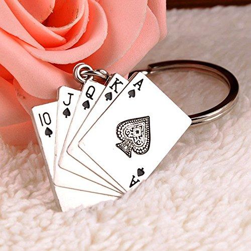 New Creative Silver Metal Key Chain Ring Gift Poker Keychain Keyfob (Poker Key)