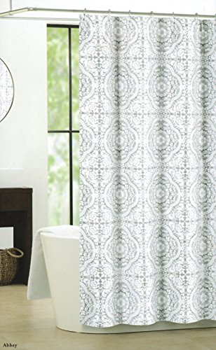 Nicole Miller Luxury Cotton Blend Shower Curtain Silver Gray White Grey Large Floral Ornate Medallions Design - Nicole Miller Shower Curtain