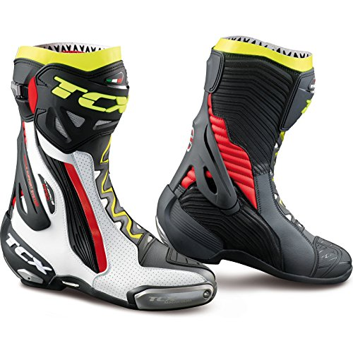 TCX rt-race Pro Air botas de motocicleta WHITE/RED/YELLOW FLUO