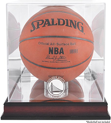(Golden State Warriors Mahogany Logo Basketball Display Case and Mirror)