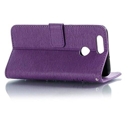 COWX Huawei Nova 2 Plus Hülle Kunstleder Tasche Flip im Bookstyle Klapphülle mit Weiche Silikon Handyhalter PU Lederhülle für Huawei Nova 2 Plus Tasche Brieftasche Schutzhülle dgaedd