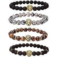 MIKINI Unisex Mens Bracelets Set - Lava Rock Black Matte Agate Dragon Vein Agate Tiger Eye's Stone Beads Bracelet, Gold & Silver Plated Lion Head (Gold Lion)