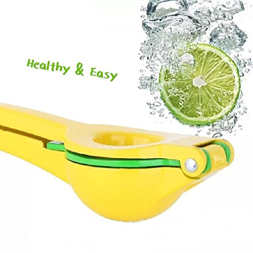 VEEPPO Premium Manual Lemon Lime Citrus Squeezer 2 in 1Metal Zinc Alloy Yellow and Green Plated Press Juicer