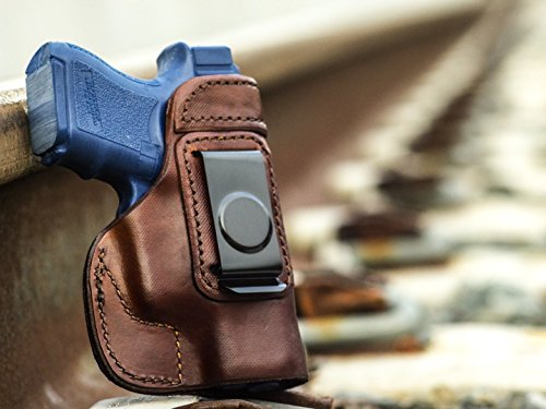 OutBags USA LS2G26 (BROWN-RIGHT) Full Grain Heavy Leather IWB Conceal Carry Gun Holster for Glock 26 G26 9mm/Glock 27 G27 .40/Glock 33 G33 .357/Glock 39 G39 .45GAP. Handcrafted in USA.