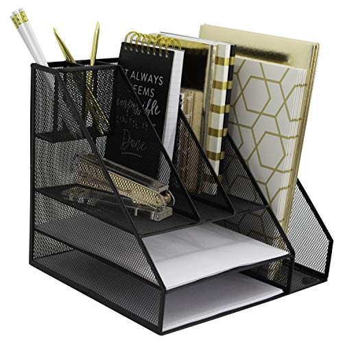 Blu Monaco Office Supplies Desk Organizers and Accessories-Large Black Wire Steel Mesh-2-Tiered Paper Organizer Tray-3 Slot Vertical File Organizer-Pen Cup-Accessory Tray Office Decor Mail ()
