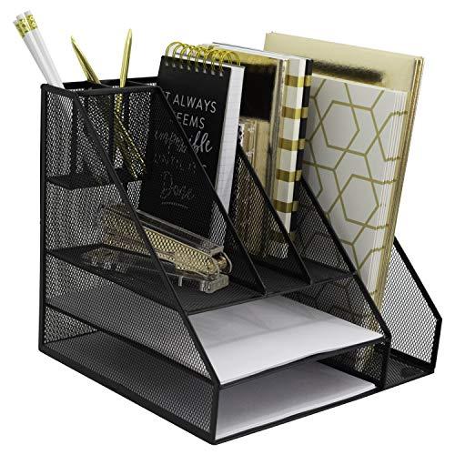 (Blu Monaco Black Wire Mesh Desk Organizer - Vertical File Organizer - Letter Tray - Inbox Organizer - All in One Office Desktop Organizer - Black Metal Mesh)