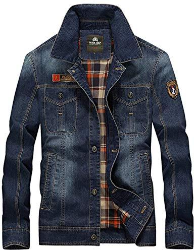 Faux Casual Risvolto Giovane Denim Jacket Ntel Fur Uomo Classic A Maniche Lunghe Men Men's Marineblau Coat Thick fq8dd