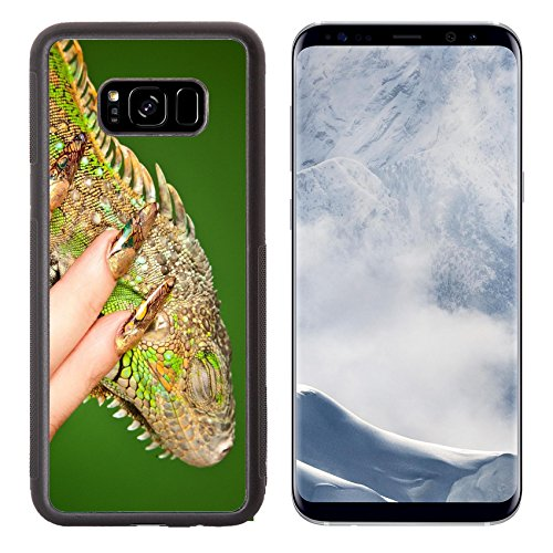 Lizard Lovin Animals (Liili Premium Samsung Galaxy S8 Plus Aluminum Backplate Bumper Snap Case IMAGE ID: 18836175 Female hand with beautiful manicure in natural style tenderly touches iguana Macro shot over green backgro)