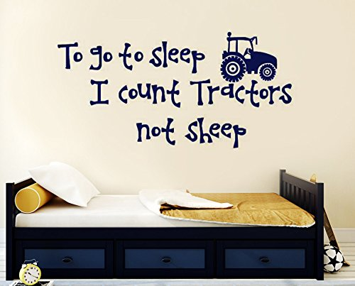 N.SunForest Wall Decals Quote to Go to Sleep I Count Tractor