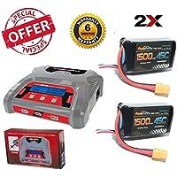 Powerhobby 3S 11.1V 1500mAh 45C Lipo Battery 2 Pack XT60 w/ 3S Dual Lipo Charger