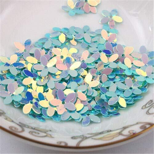 100x Flower Loose Sequins with Golden Tone Paillette DIY Sewing Accessories 10mm (Color - Lake Blue with Golden Tone)