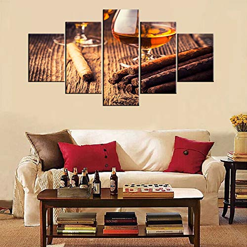 5 Piece Canvas Wall Art Cigar and Whiskey Pictures Contemporary Paintings for Living Room Brown Artwork Modern Home Decor Wooden Framed Stretche Ready to Hang Posters and Prints(60''Wx32''H)