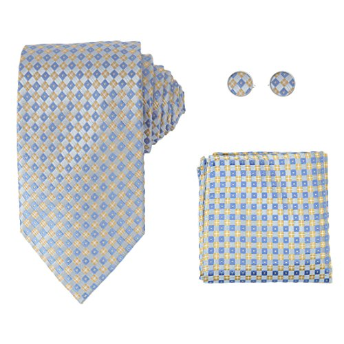 Y&G H6080 Blue Plaids Online Gift Idea Silk Ties Cufflinks Hanky Husband Gifts Set ()