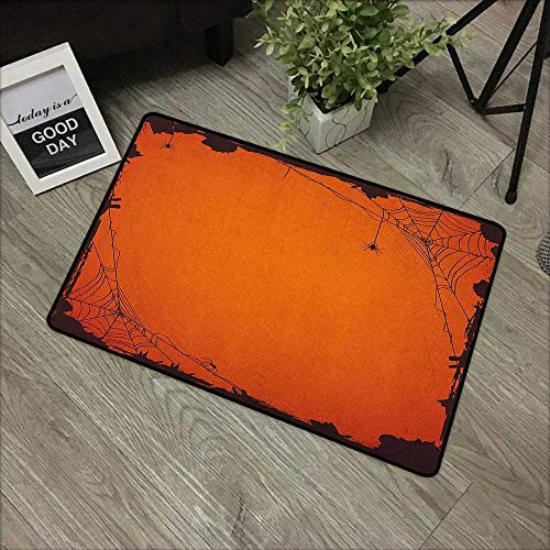 Outdoor Door mat W31 x L47 INCH Spider Web,Grunge Halloween Composition Scary Framework with Insects Abstract Cobweb, Orange Brown Non-Slip Door Mat -