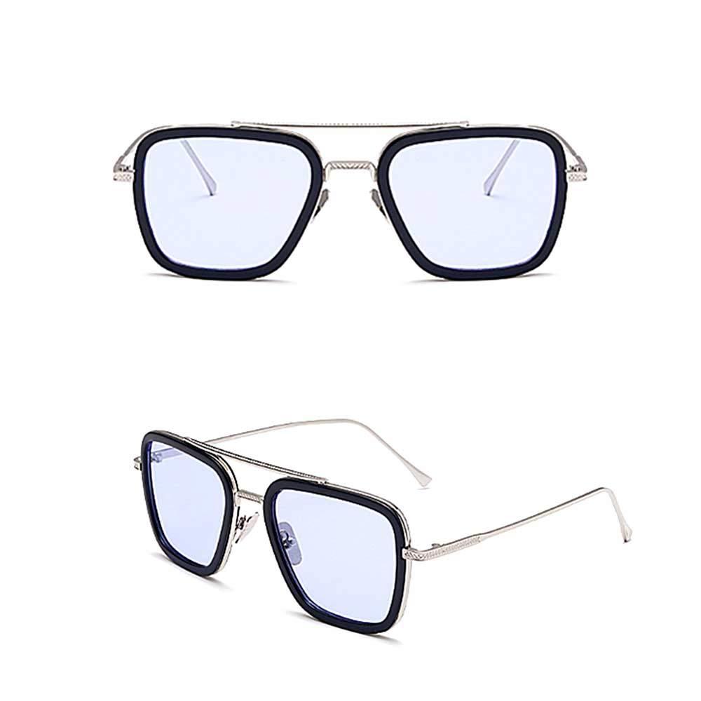 Pandacos Tony Stark Sunglasses Retro Square Silver Frame Transparent Grey Lens for Men Women Cosplay